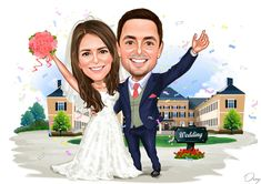 Shop for Caricature artist draw cartoon portrait and Custom Cartoon logo, business card, poster, banner design for your business. Bride Cartoon, Couple Cartoon, Caricature Artist, Caricature Drawing, Cartoon Logo, Cartoon Design, Wedding Caricature, Birthday Cartoon, Hands In The Air