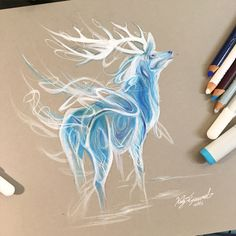 "This+is+an+original+piece+from+my+2015+""365+Drawing+Challenge""+as+seen+on+Instagram. This+is+""Stag+Patronus""+from+Day+239. Drawn+with+a+mix+of+pencil,+marker+and+white+acrylic+on+Toned+Grey+coverpaper. 8.5x9.75+inches Each+original+is+accompanied+by+a+signed+certificate+verifying+authenticity..."