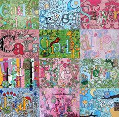 Hardboard nursery art--names (tutorial) Name Paintings, Nursery Paintings, Nursery Art, Kids Name Art, Art For Kids, Disney Activities, Craft Activities, Art Tutorials, Painting Tutorials