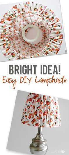 Bright Idea: DIY Lampshade Cover My home decorating style and interests are always changing and evol Make A Lampshade, Fabric Lampshade, Cover Lampshade, Lampshade Ideas, Lamp Ideas, Diy Ideas, Lamp Cover, Home Crafts, Diy Home Decor