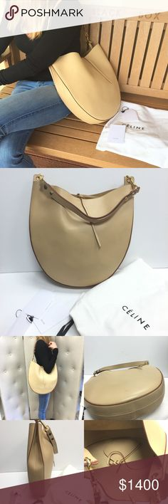 """Auth Celine Calfskin Leather Hobo Bag Such a gorgeous Celine Hobo bag made in calfskin leather. It has a soft dark beige color, beautifully designed with a celine pouch inside. It has two small strings that allow the bag to close at the top. It has never been worn, but does show some wear. Bag comes with its original dustbag, card and tag of original price $2,950. Brand: Celine Style:Hobo Material: Calfskin Measurements: Length: 13"""" Height: 13"""" Depth: 3"""" Strap Drop: 10"""" Made in Italy Serial…"""