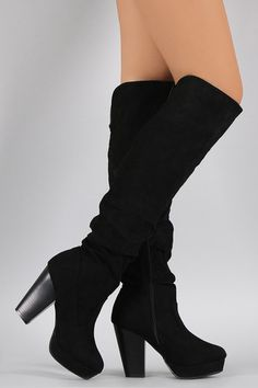 Bamboo Suede Slouchy Chunky Heeled Over-The-Knee Boots