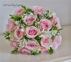 Pale Pink English Rose Bouquet | Bouquet of pale pink Sweet Avalanche roses, white freesia, a touch of ...