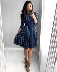 Alice Grid Dress – In der Marine - Kleider Mode Fall Dresses, Elegant Dresses, Sexy Dresses, Cute Dresses, Formal Dresses, Wedding Dresses, Casual Dresses For Winter, Casual Winter, Awesome Dresses