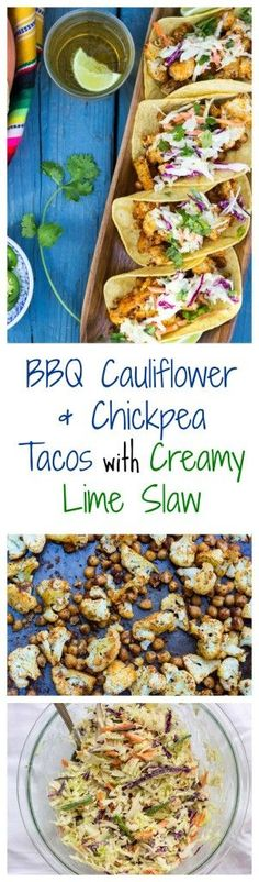 BBQ Cauliflower & Chickpea Tacos with Creamy Lime Slaw. Filling, delicious, and flavorful vegetarian tacos! {gluten free, vegan}