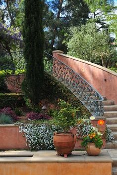 italian cypress landscape ideas | Landscape Design Ideas, Pictures, Remodels and Decor Tuscan Garden, Italian Garden, Mediterranean Garden, Outdoor Steps, Hillside Landscaping, Garden Inspiration, Garden Ideas, The Far Side, Tuscan Style