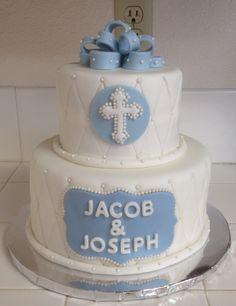 Baptism christening cake for boy