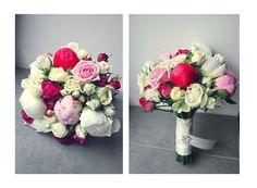 Brautstrauß aus Pfingstrosen, Strauchrosen und normalen Rosen in weiß, rosa und pink
