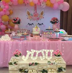 Lisa's Birthday / - Photo Gallery at Catch My Party Unicorn Themed Birthday Party, Girl Birthday Themes, Baby Girl Birthday, Unicorn Party, 1st Birthday Parties, Birthday Party Decorations, Unicorn Baby Shower, Partys, Backdrops For Parties