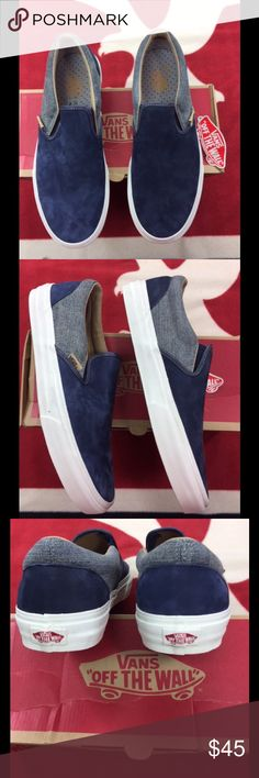 Vans Classic Blue & Grey Slip on Two Toned Classic slip on Utilitrn present NightBicDBic. Two tone dark night blue trimmed in charcoal around top of shoe. Vans Shoes Sneakers