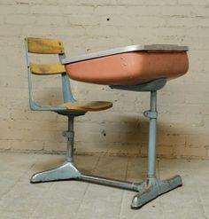 1940s Streamline Modern Norman Bel Geddes-designed One-Piece School Desk With Swivel Chair