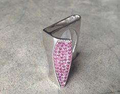 Architectural Inspired Ruby Ring Pink Ruby Ring Silver by Belesas, $172.99