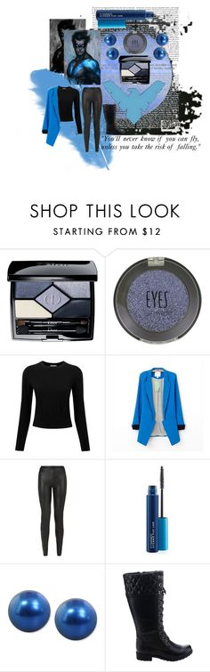 """""""Nightwing"""" by walldamort ❤ liked on Polyvore featuring Christian Dior, Topshop, Pure Collection, JDY, MAC Cosmetics and Honora"""
