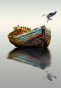 abandoned boat by Kittiwut Chuamrassamee on Fotoblur Old Boats, Small Boats, Row Row Your Boat, Boat Art, Float Your Boat, Boat Painting, Remo, Am Meer, Fishing Boats