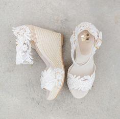 €169 Ibiza Lace Espadrille Wedges Wedding Shoes Bride Bruid Summer Sparkle Bohomain Vintage Sandels