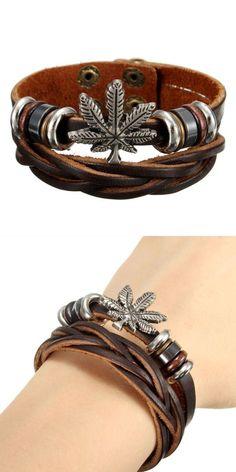 Isabella m bracelets punk unisex maple leaf leather wristband bangle bracelet #7 #bangle #bracelets #7 #chakra #bracelets #bracelets #made #from #ocean #plastic #bracelets #unisex