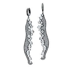 18K gold black ceramic finished earrings with 2.26 carat round brilliant cut diamonds and 5.04 carat rose cut diamonds.(#23444) #michaeljohnjewelry