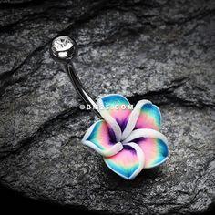 Hawaiian Plumeria Belly Button Ring