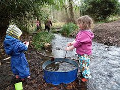 """""""Welcoming back new friends.""""  The Forest Tots Blog.  Lovely photos of toddlers playing in a forest playgroup. """"Today we made bird food for our feather friends, some of which was taken home and some left hanging in the woodland garden. And there was plenty of fun had by all playing with the stacking stuff, rolling balls, playing in the stream and rampaging through the Autumn leaves"""" Originally Pinned by Alec Duncan of http://childsplaymusic.com.au/"""