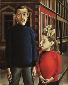 "Two Children (1921) // Otto Dix (German artist, 1891-1969) German Expressionism, Weimar Art. ""Painting subjects seem innocent and open, despite strangely deformed features"""