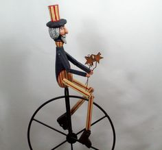 Uncle Sam Doll Wood Carving and Unicycle by LLA Carve by llacarve, $150.00