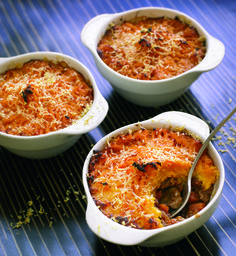Italian shepherd's pie by Gino de Campo. Use sweet potatoes, tinned chopped tomatoes and plenty of fresh basil leaves.