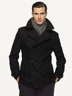8066b0ba5 Ralph Lauren Black Label - Black Lasercut Wool Pea Coat for Men - Lyst