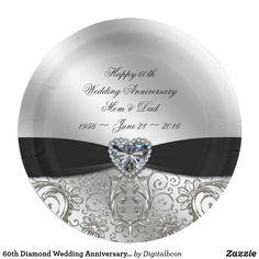 Personalised 60th Diamond Illustrated Wedding Anniversary Mug Set Grandparents