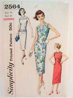 Pencil Dress Vintage 50's Pattern Simplicity 2564 by WildPlumTree, $10.00