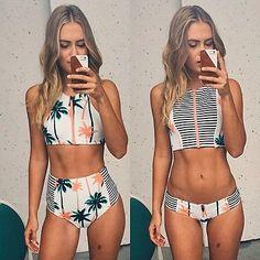 Print Palm Tree Women Bikini High Neck Tank Zipper Design Top Striped Swimsuit