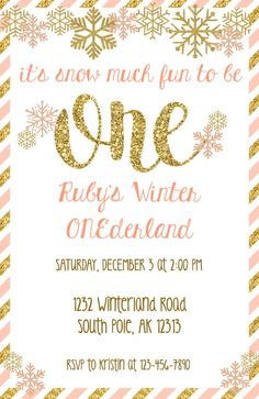 This winter onederland invitation would be perfect for your winter wonderland party! Get yours now for $8.00. Winter ONEderland Party, Winter ONEderland Birthday, Winter ONEderland Girls, Winter ONEderland Invitation