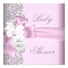 baby shower white and pink invitation | Baby Shower Girl Pink Gray White Lace Custom Invitations