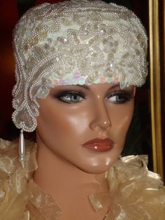 1920s Flapper Hat Wedding | Flapper Hat Cloche 1920 style Beaded Embroidery Wedding Personalized ...