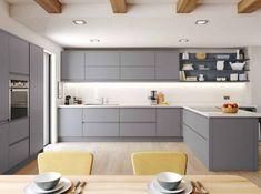 Ideas Small Kitchen Remodel Layout Shape White Cabinets For 2019 Modern Grey Kitchen, White Gloss Kitchen, Grey Kitchens, Modern Kitchen Design, Home Kitchens, Kitchen Black, Cottage Kitchens, Modern Kitchens, Minimalist Kitchen