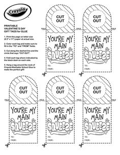 Create colorful Valentines for your friends! Sized perfectly to fit on Crayola School Glue bottles! Disney Princess Aurora, Disney Princess Snow White, Crayola Coloring Pages, Free Coloring Pages, Valentines Day Activities, Valentines Diy, Printable Tags, Printables, Bear Print