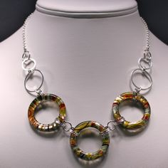 Murano Glass Ring and Sterling Silver Linked Necklace