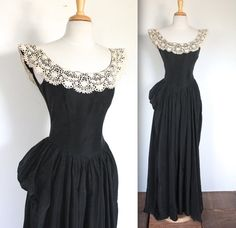 Vintage 1940s Dress // 1945 Black Beautime Formal Gown with Lace Collar and Bustle // The Deputante