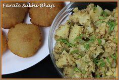 Farali Sukhi Bhaji / Dry Potato Sabzi is tasty sabzi made during fasting or vrat for festivals like Navaratri, Maha Shivaratri, Ekadhashi, Janmashtmi or Shravan mass upwas. I love this sabzi. I make it very often even if I am not fasting :). Farali Sukhi Bhaji goes very well with Rajgira Puri.