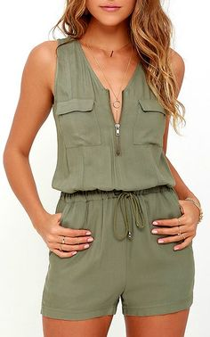 Feeling breezy and beautiful will come naturally to whoever has the Olive & Oak Set Free Olive Green Romper! Soft and light woven rayon sweeps over a sleeveless bodice (with patch pockets) to a zippered neckline, and tying drawstring waist. #lovelulus