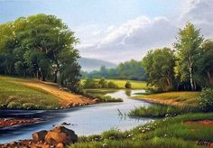 Painter Sergei Stoev Beauty in Art Spring Landscape, Landscape Art, Landscape Paintings, Arte Country, Lake Photography, Easy Canvas Painting, Beauty In Art, Mountain Paintings, Watercolor Artists