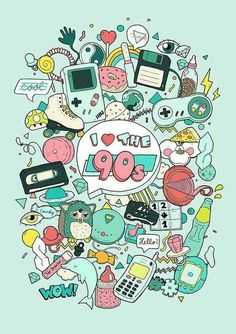 I really like the Artwork Illustration, gameboy, furby, tamagotchi, accessible as print: www.at Extra Illustration Children obtain Stickers Kawaii, Desenho Pop Art, 90s Art, 90s Theme, Love The 90s, 90s Childhood, 90s Nostalgia, Doodle Art, Cute Wallpapers