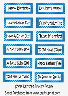 Lots of lovely sentiments on blue polkadot tags on Craftsuprint - Add To Basket!