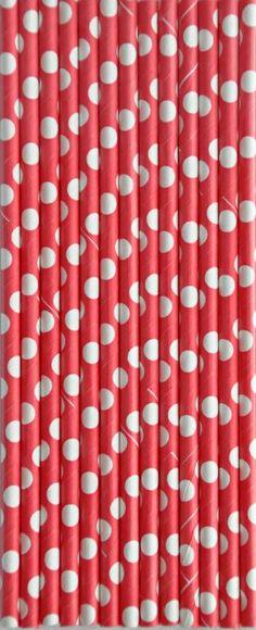 Papierowe Retro Słomki ! czerwone  białe kropki !!