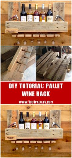 """[gallery columns=""""5"""" link=""""none"""" ids=""""14881,14890,14891,14892,14893""""] This tutorial by Jean-Christian Gambellin will show you how to made a pallet wine rack/shelf for your kitchen. 1 Pallet. Approximately 1 day to make it. Need some skills to do it, we evaluated this project…"""