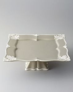 "To serve all my gourmet cakes and pastries, this Square ""Baroque"" Footed Cake Stand is perfect.  #Horchow"
