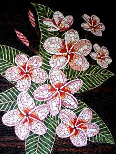 mosaic in pink plumeria flowers Mosaic Tile Art, Mosaic Artwork, Mosaic Crafts, Mosaic Projects, Mosaic Glass, Glass Art, Stained Glass, Mosaic Designs, Mosaic Patterns