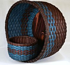 Bright Expectations Baskets: Two Baskets - Afghan Basket and Table Basket Double Walled in Dark Brown and Turquoise Blue Handwoven Traditional Reed.