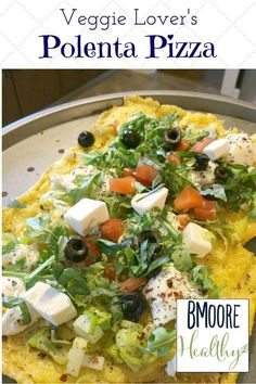 Welcome to my contributor Betsy from BMoore Healthy as she shares her recipe for Veggie Lover's Polenta Pizza- Love, Pasta and a Tool Belt   healthy recipes   recipe ideas   food   vegetables   meatless meal  