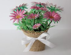 Pink Petals, Pink Flowers, Plastic Flower Pots, Green Watercolor, Heartfelt Creations, White Ribbon, Pink And Green, Bouquet, Paper Crafts