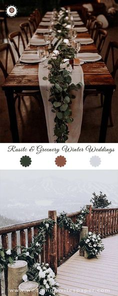 100 winter rustic wedding ideas---sage green leaves decor wedding table and outdoor veunes. Outdoor Winter Wedding, Winter Wedding Decorations, Decor Wedding, Wedding Centerpieces, Wedding Colors, Wedding Ideas, Sage Wedding, Rustic Wedding, Wedding Table Settings